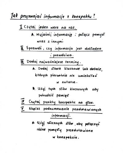 notatka konspektowa